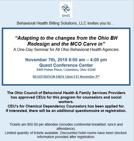 Event ⋆ Behavioral Health Billing Solutions, LLC