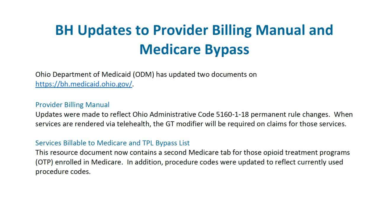 Updates to Provider Billing Manual and Medicare Bypass October 2020